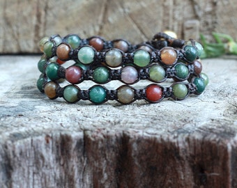Fancy Jasper Triple Wrap Bracelet, 6mm Unisex Bracelet