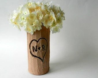 Faux Bois Vase with carved initials in heart  / Made-to-order / Tree inspired Home Decor / Nature Art /  handcrafted vase