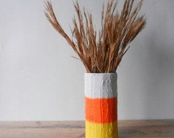 Candy Corn Vase / Autumn home Decor / unique striped Halloween vase /  Halloween Party Decor