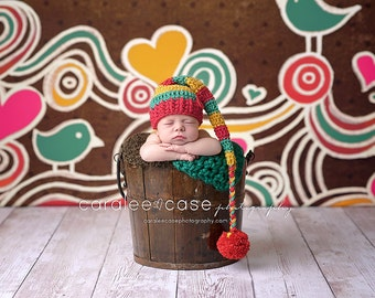 Elf Hat in Red, Teal, and Mustard with a Braided Tail/ Valentines