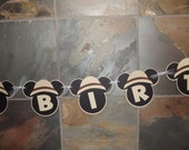 Safari Jungle Mickey Mouse Inspired Banner Happy Birthday Pith Hat  - Custom Made to Match Your Party or Event