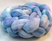 Rambouillet roving hand dyed 4oz Shades of blue, turquoise, rose R12-26
