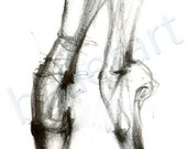 Ballet on Pointe, Dance Wall Art, Dancer Feet Drawing, Pointe Shoe painting, ballet art, illustrations prints, black and white art, pencil