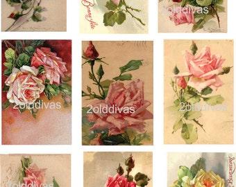 Catherine Klein Vintage Style Shabby Roses Postcard Waterslide Decals