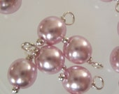 10 - Hand wrapped 6mm Pink Orchid w/Silver Glass Pearl Dangles-Charms