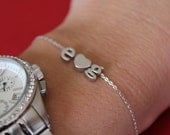 Tiny Silver lowercase Initial and Heart Bracelet...Small Initial Bracelet...sweetheart bracelet...bridal party jewelry gift idea birthday