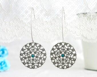 Silver wedding earrings, Wedding earrings, Silver earrings, Silver wedding, Wedding dangle earrings, Dangle earrings, Silver dangle earrings