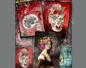 Halloween Scary Skulls 9 Images Digital Instant Download for Notecards, ATC's, ACEO, altered art, collage