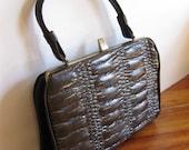 Vintage mid century brown handbag/ ruched handbag/ vinyl 1940s/ fall fashion