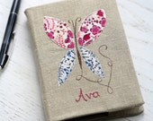 Personalised Notebook A6 - Butterfly on vintage linen