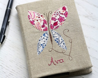 Personalised Notebook - Butterfly on vintage linen