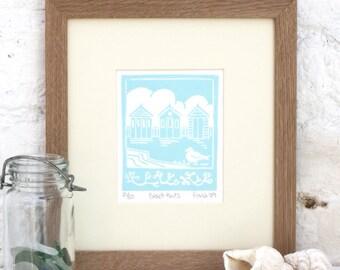 Hand Printed Beach Huts Linocut Print