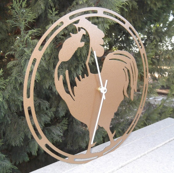 Rooster Rooster clock Bronze Hammertone by MichaelsMetalArt