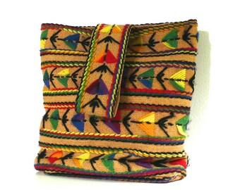 Vintage Geometric Embroidered Tote