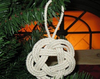 Nautical Christmas Ornament Sailor Knot Turks Head White Cotton