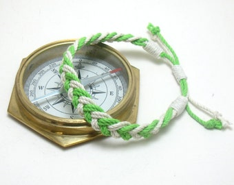 Anklet White and Bright Green Braided Cotton Sailor Anklet Chevron
