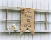 Here Comes The Bride banner with a handmade burlap flower as seen in Style Me Pretty