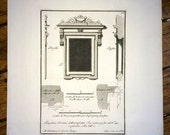 1755 florence architecture original antique italian engraving - f. ruggieri architect - window