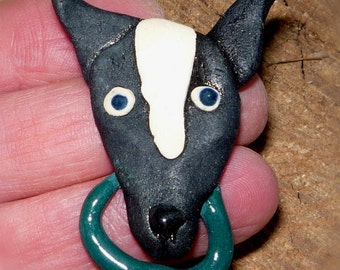 Black and white Pointy nose  Dog Brooch
