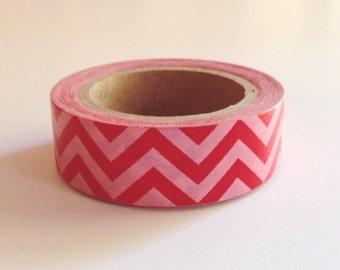Chugoku Washi Tape Red Pink Chevron - Gift Wrapping, Packaging