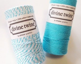Aqua Bakers Twine Aqua Twine Blue Twine White Striped Cotton String - 240yd Gift Wrapping