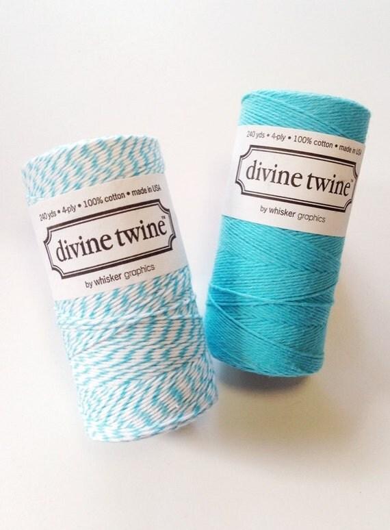 Aqua Bakers Twine Aqua Twine Blue Twine White Striped Cotton String - 240yd Gift Wrapping