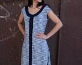LAST SALE 50% off!!!! under 50, BLUE  Line in blue melange  A line dress