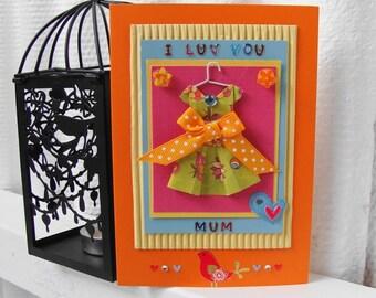 I Love You Mum Mom Card Gift Card Origami Dress Blank Card  Paper Dress Handmade Card Mum's Birthday Mothers Day Card
