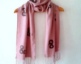 Ampersand Scarf in Pink, Hand stamped Pink Tassel scarf, women scarves, wedding scarves