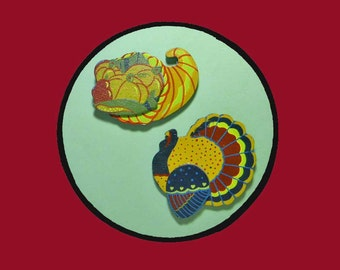 2 Fall Harvest Magnets. Beautiful Colorful Wooden Turkey and Cornucopia Magnets. Vintage. 4920