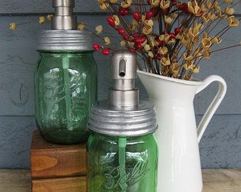 Mason Jar Soap Dispenser with Stainless Steel Pump - Green Pint Limited Heritage Edition