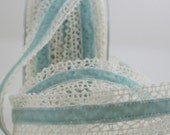 """French Blue Velvet & Crochet Lace Ribbon, 1"""" wide by the yard, Wedding, Velvet Chokers, Gift Wrapping, Sewing, Party Supplies, Costumes"""