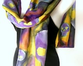 "Hand Painted Silk Scarf, Skulls, Goth Steampunk, Purple Yellow Olive Green Brown, 71"" x 18"", Gift For Her"