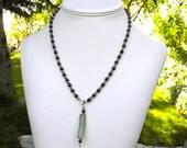 Garnet Beaded Necklace by SeedlingDesigns, Sterling Beads, Sea Glass, Pendant, Handmade, Classic