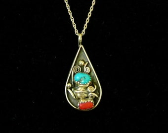 Turquoise and Coral Pendant Necklace in Sterling Silver. Native American Southwest Design.