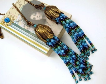 Fan Chain Pair for Ceiling Fan or Lamp with Turquoise Blue and Green Beaded Fringe and Antiqued Brass Color Findings