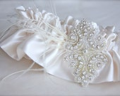 Rhinestone Feather Garter white, ivory, champagne satin custom color feather garter crystal wedding garter silver beaded rhinestone applique