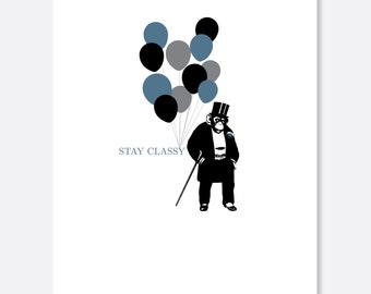 Stay Classy Birthday Card, Animal Birthday Card, Silly Birthday Card, Fancy Birthday Card