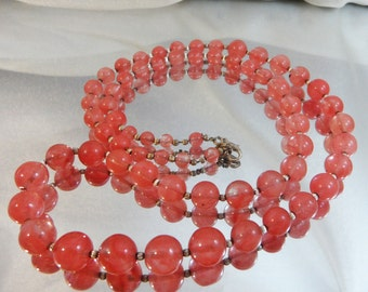 Vintage Pink Art Glass Necklace. Rose Quartz. Silver Beads. 30 inches.