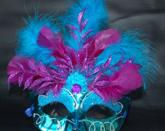 Blue Metallic Feathered Mask