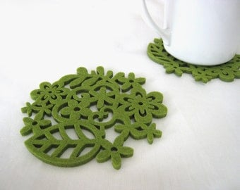 Spring Botanical Garden Moss Green Felt Coasters. Set Of Six. Green Leaves Ferns Coasters