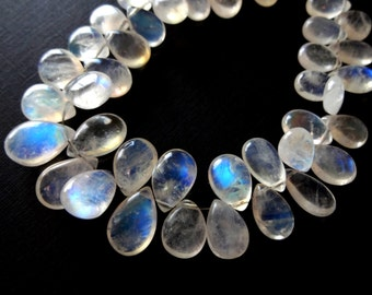 NEW! AAA Rainbow White MOONSTONE Smooth Pear Briolettes, 6.5mm x 9.5mm, (1) Earring Pair, 2 pieces, blue flashy, natural gemstones, bridal