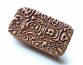 Exotic Pill Box Mayan Style Purse Accessory Metal Slide Top Vitamin Holder Travel Pill Case FREE Velvet Gift Pouch Mexican Pill Box