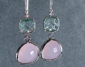 Prasiolite and Pink Ice Glass Silver Bridesmaid Earrings, Bridal Earrings, Bridal Party, Wedding Earrings, Bridesmaid Gift, Bridal (408S)