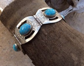 Early Taxco Mexican sterling silver turquoise cabochon link bangle bracelet eagle mark