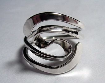 Winged Two Turn Vortex Energy Ring™  in Sterling Silver or Hypoallergenic Niobium