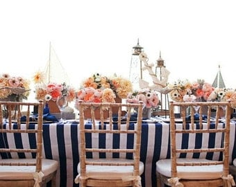 Nautical Navy Blue & White Stripes Table Cloth, Weddng table overlays, Birthday party linens, Custom sizes available