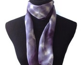Tie Dye Silk Scarf Gray and Black 8x54in * 20.32x137.16cm