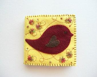 Needle Book Yellow Felt Needle Keeper with Burgundy Folk Art Bird Hand Embroidered Handsewn