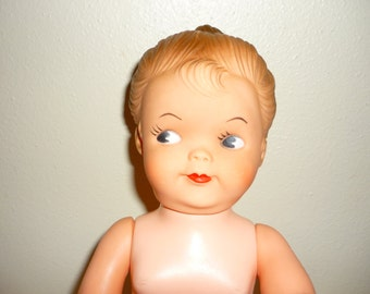 Vintage Plastic Doll with Up-do and Red Lips